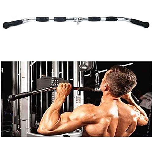 """Tricep Press Down Bar LAT Pull Down Bar Handle Attachment for Cable Machine, Non-Slip Handgrips & Revolving Hanger, Pro-Grip Revolving Curl Bar,Long 47inch, 36inch, 30inch (Color : A Long 47"""")"""