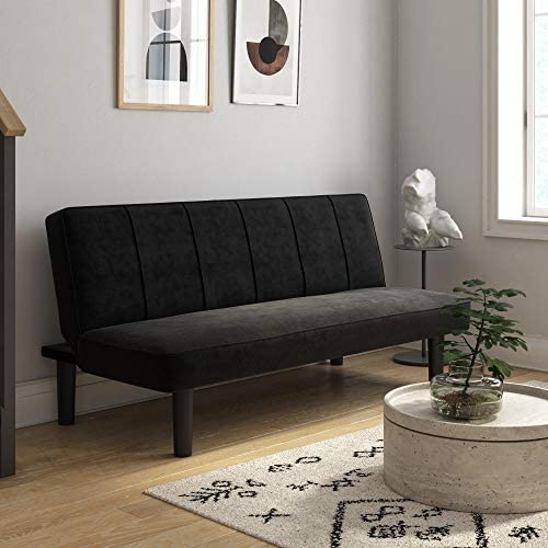 DHP Java Convertible Sofa Bed and Couch Black Microfiber Futon product image