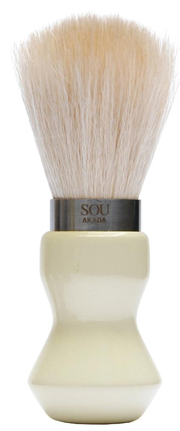 レーニン主義クラッチ作者SOU AKADA シルクホイップブラシ シェービングサイズ パール塗装 ホワイト 100426