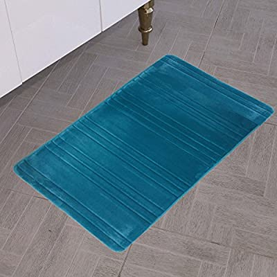 """All American Collection New Solid 1 Piece Memory Foam Bathroom Mat (20"""" x 36"""", Stripe Turquoise)"""