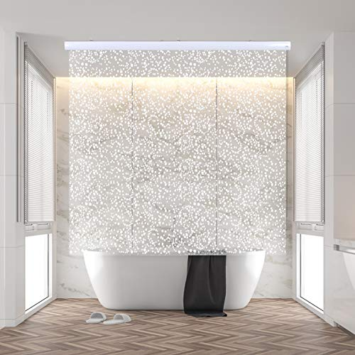 """Jakooz Rollup Shower Curtain for Bathroom. Waterproof, 100% PEVA, Heavy Duty Shower Roller Blind Curtain for Bathtub. No rods, No Hooks, No Rings! (56""""x95"""") (Sparkle)"""