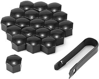 Auto Radmutternabdeckung, 20pcs 17mm Universal Radnaben Schraubenabdeckungen staubdichte Schutzkappen mit 1 Clip, schwarz