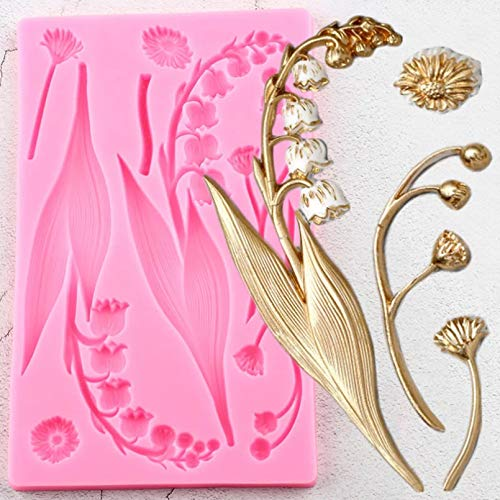 Fewear Lily Flower Silicone Molds Bell Orchids Cake Border Fondant Mold Wedding Cake Decorating Tools Candy Chocolate Gumpaste Moulds