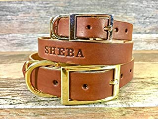 Handmade Personalized Brown Leather Dog Collar Engraved with FREE Name, Choose a Font and Hardware