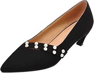 SJJH Court Shoes with Kitten Heel and Pointed Toe Fashion Nubuck Materail Shoes