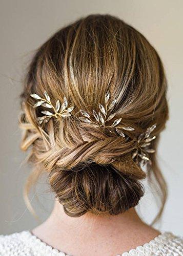 Kercisbeauty handgemachte Braut Haarschmuck Brautjungfern einfach niedlich Kristall Gold Silber Blatt Blätter Haar Pins Kopfschmuck Blumenmädchen (3er Set) (Gold)