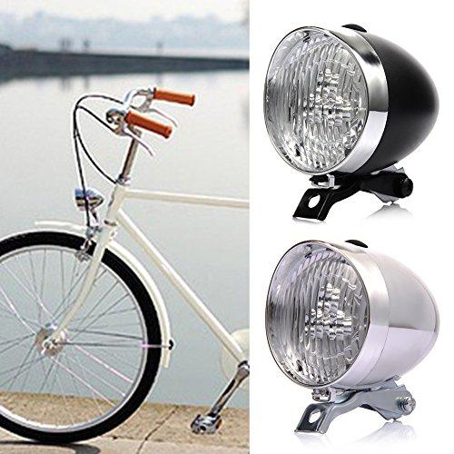Faro delantero para bicicleta (3 LED, funciona con pilas, 2 modos, con soporte), diseño retro, blanco
