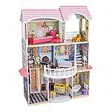 KidKraft- Magnolia Mansion Casa de muñecas de madera con muebles y accesorios incluidos, 3 pisos, para muñecas de 30 cm , Color Multicolor (65907 )