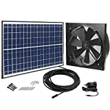 GBGS Solar Powered Exhaust Fan AC Power Backup, Built-in Thermostat Switch, 1750CFM, 4200sq/ft Ventilation, IP68 Brushless DC Motor, Adjustable Solar Panel, 40db, 47.5ft Cable, Double Rust Free