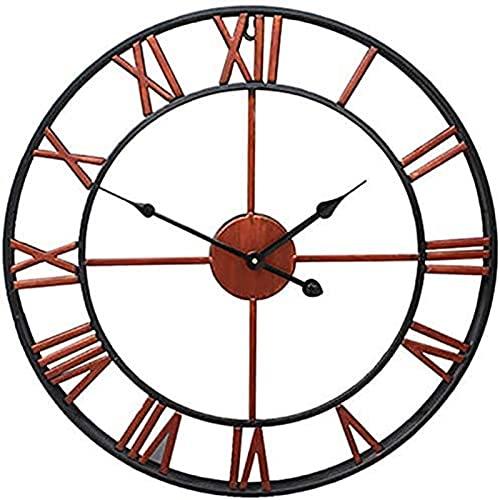 OUUUKL Reloj Extra Grande para Exteriores, Reloj de Pared para Jardín al Aire Libre, Reloj de Metal Decorativo Industrial Vintage para Exteriores, Reloj de Pared de Hierro Esqueleto Silencioso