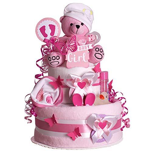 MomsStory - Windeltorte Mädchen | Teddy-Bär | Baby-Geschenk zur Geburt Taufe Babyshower | 2 Stöckig (Rosa-Pink) mit Plüschtier Kuschel-Decke Lätzchen Schnuller & mehr