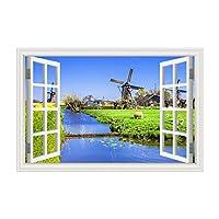 YIBOKANG 3Dウィンドウの風景60 * 90センチのウォールステッカー創造的な風車牧草地青い空夕日のステッカーリビングルームの寝室の子供部屋装飾ウォールステッカー (Color : 8)