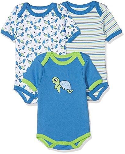 Schnizler kurzarm, 3er Pack Schildkröte, Oeko-Tex Standard 100, Body Bebé niños, Azul (Original), 50 (Talla del fabricante: 50/56)