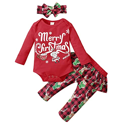 Unisex Newborn Baby Xmas Clothes Sets Infant Baby Christmas Deer Printed Romper Bodysuit+Ruffles Pants Outfits 3-18 Months