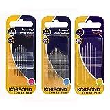 Korbond Pack de 3 juegos de agujas de coser: 16 agujas...