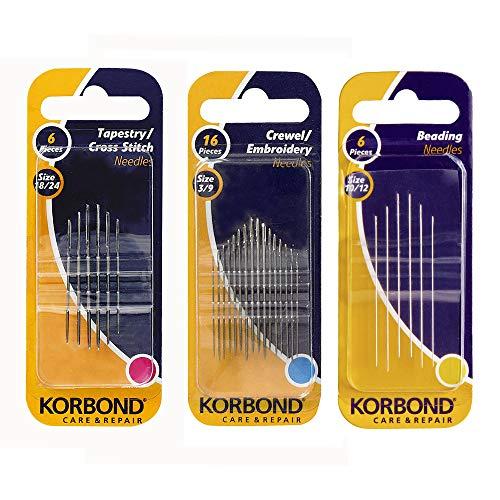 Korbond Pack de 3 juegos de agujas de coser: 16 agujas para bordar, 6 agujas de punto de cruz o para lana y 6 agujas para cuentas, para coser a mano, arreglos, remiendos y manualidades