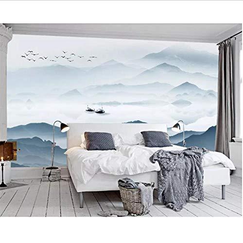 Dalxsh behang muurschildering Chinese abstract blauw inkt landschap woonkamer tv achtergrond muur slaapkamer bed muurschildering 3D behang 200 x 140 cm.