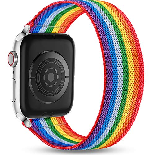 Ouwegaga Ersatz Armband Kompatibel mit Apple Watch 44mm 42mm 40mm 38mm, Elastisches Armband Weichem Nylon Schlaufen Armband Kompatibel mit iWatch Series SE 6 5 4 3 2 1, 38mm/40mm-S/M Regenbogen