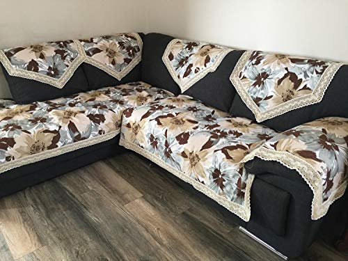 OctoRose New and Improved Anti-Slip Grip Sofa and Couch Protector, Sectional Sofa Back Covers, Color Canvas Grey/Camel/Brown/Beige Mixed Flower (Blue-Flower, SofaBack-24x35-S2)