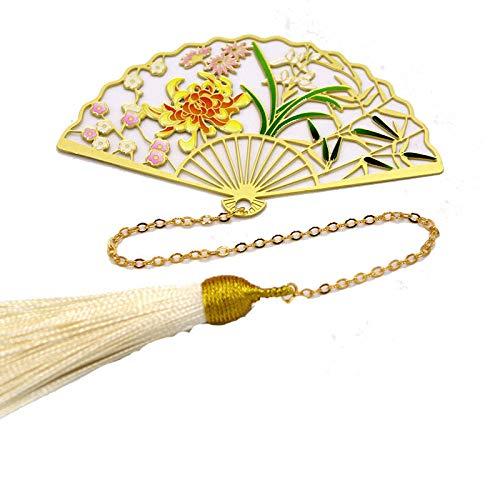 Vintage bladwijzer creatieve metalen ventilator zijdedraad pruim pruim, orchidee, bamboe chrysant klassieke Chinese stijl studentenkamer kantoor kinderen lezen paar cadeau simpel mode 2-delig