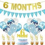 JOYMEMO 6 Meses de Decoraciones de cumpleaños para niño Gold Half Year Banner Cake Topper Pink 1/2 Banderín Party Supplies