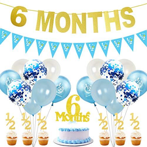 JOYMEMO 6 Monate Geburtstag Dekorationen für Boy Gold halbes Jahr Banner Cake Topper Pink 1/2 Wimpel Party Supplies