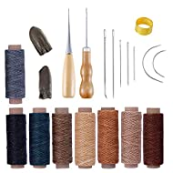 Bookbinding Tools Kits,Sewing Tools for Leather,Bone Folder Paper Creaser,Waxed Thread,Wood Handle Awl,Large-Eye Needles,Bind Clips for DIY Bookbinding Crafts Sewing (22 Pcs)