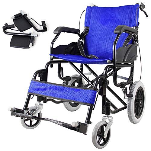 D-Q De peso ligero plegable silla de ruedas autopropulsada silla de ruedas silla de ruedas for mayores usuarios discapacitados de movilidad reducida con el frente y trasero Freno de mano plegable resp