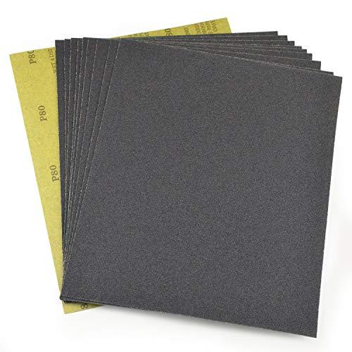 紙やすり サンドペーパ 耐水ペーパー 10枚入り 80# 金属・プラスチック類の仕上研磨、木工作業、ホビー・DIYに 、からPOLIWELL