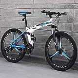 CPY-EX Mountainbike, Folding Mountain Bike 21/24/27 Geschwindigkeit Fahrrad Full Suspension MTB Faltbarer Rahmen 26' 3/6/10 Spoke Wheels,B1,27