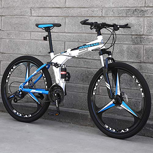 CPY-EX Mountainbike, Folding Mountain Bike 21/24/27 Geschwindigkeit Fahrrad Full Suspension MTB Faltbarer Rahmen 26