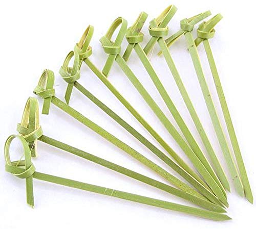JapanBargain 1596x6, Bamboo Cocktail Picks Skewers for Appetizer Snack Sandwich Finger Food Tapas Fruit Kabob BBQ Hors D'oeuvre Twisted End Knotted Bamboo Sticks, 4 inch 300pcs