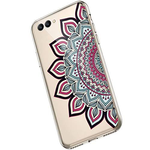 Saceebe Compatible avec Huawei Honor View 10 Coque Fleur Mandala Clair Design Motif Silicone Transparent TPU Souple Housse de Protection Ultra Mince Slim Léger Antichoc Étui,Fleur Rouge