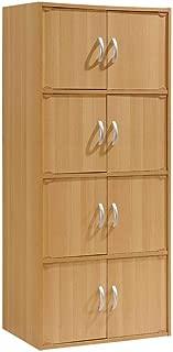 Hodedah 8 Door, Four Shelves, Enclosed Storage Cabinet, Beech