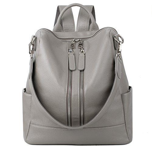 YALUXE Women's Convertible Real Leather Backpack Versatile Shoulder Bag (Upgraded 2.0) Grey