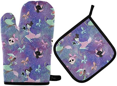 Magic Fairy Tale Witch Girl Oven Mitts Pot Holders 2pcs Kitchen Heat Resistant Purple Halloween product image