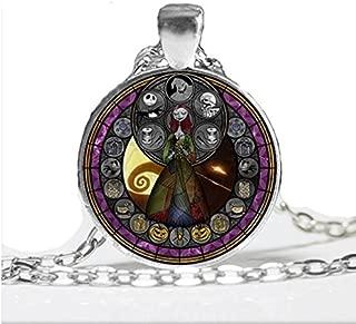 Halloween Necklace, Handmade Nightmare Before Christmas Glass Pendant Necklace