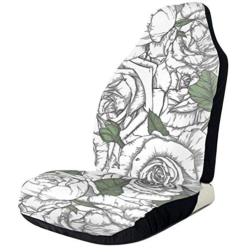 MJDIY Auto Car Seat Cover,Floribunda White Rose Flower Drivers Funda D
