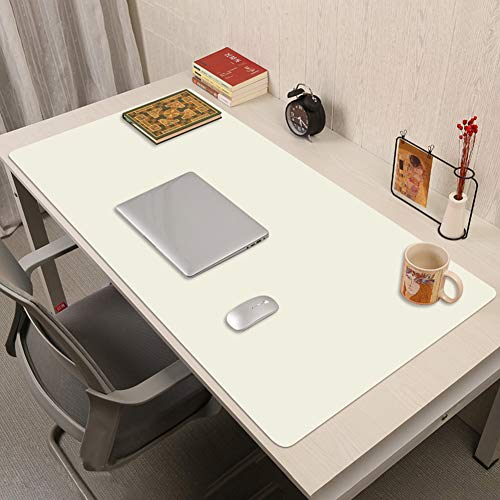 Desk Pad,Pu Leather Desk Pad Protector,Multifunctional Office Desk Pad Office Desk Mat Laptop Desk Pad Waterproof Desk Writing Pad Extended Mouse Pad for Office Home-White. 60x120cm(24x47inch)