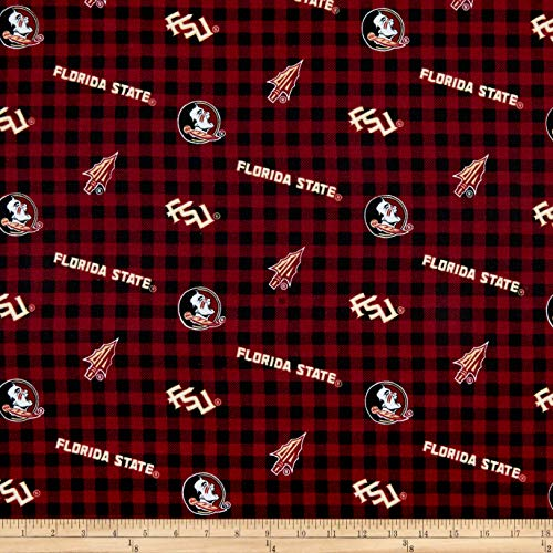 Sykel Enterprises NCAA- Florida State 1192 Flannel Check Maroon/Gold/Black, Fabric by the Yard