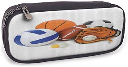 Pencil case Sports Decor Many Different Sports Balls All Together Championship Ping Pong Volleyball Olympics Concept School Supplies Multi