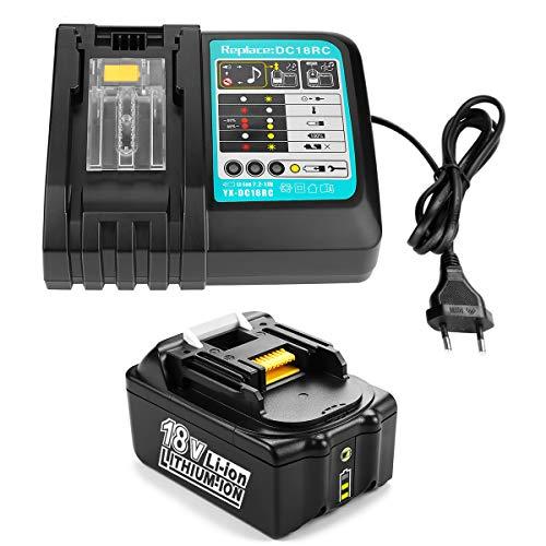 Energup 18V 4,0Ah Ersatz Akku + 3A Ladegerät für Makita BL1840 BL1830 BL1850 LXT400 Akku + DC18RA DC18RC 3A Ladegerät)