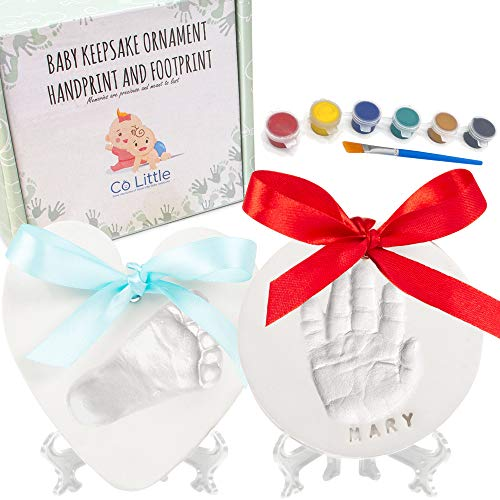 Baby Ornament Keepsake Kit (CIRCLE & HEART) Clay Handprint and Footprint Casting for Newborn - Best New Mom Gift and Shower Gift - Hand Imprint Mold - Foot Impression for Girls & Boys Print - 2 Easels
