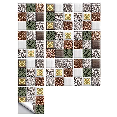 Tile Stickers, 10PCS Retro Stitching Pattern, Simulation Tile Stickers, Home Renovation Decoration DIY Wall Stickers, Waterproof PVC Wall Stickers (Color : A, Size : 1010cm)