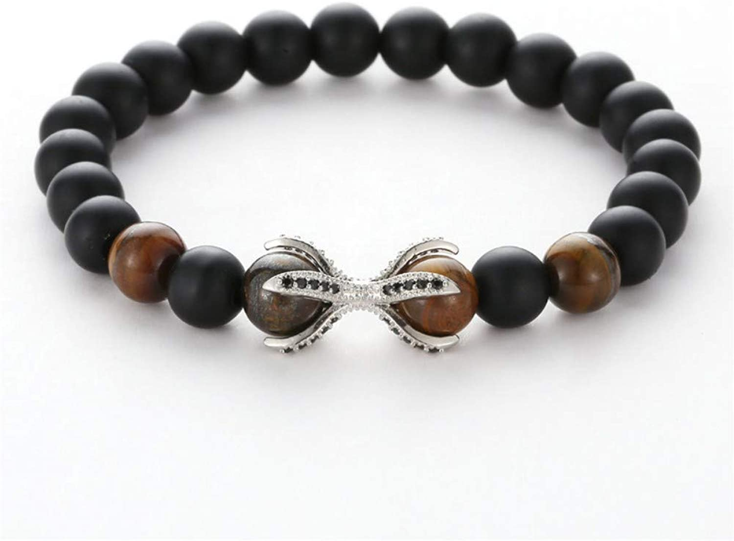 Bracelet Men,Fashion MicroSet Black Brown Silver Zircon FourCorner Claw Bead Bracelet Men Natural Stone Bracelet Women