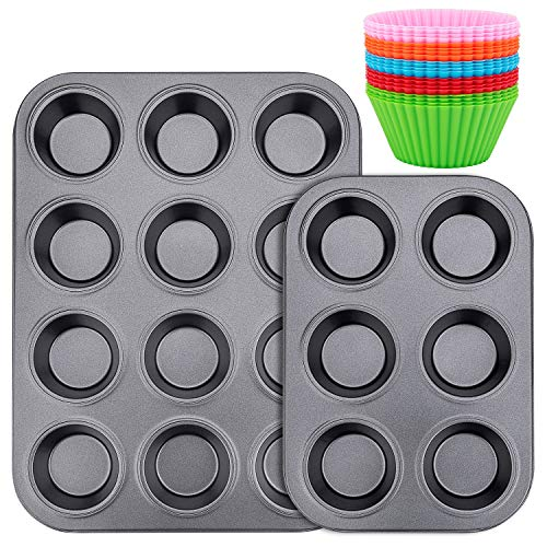 Muffin Pan, Standard 12&6 Cup Cupcake Tin Non-Stick Bake Ware Bar Baking Pan and Jumbo Muffin Pans, 20PCS Silicon Cake Cup for Brownies, Cakes and Bar-Cookies