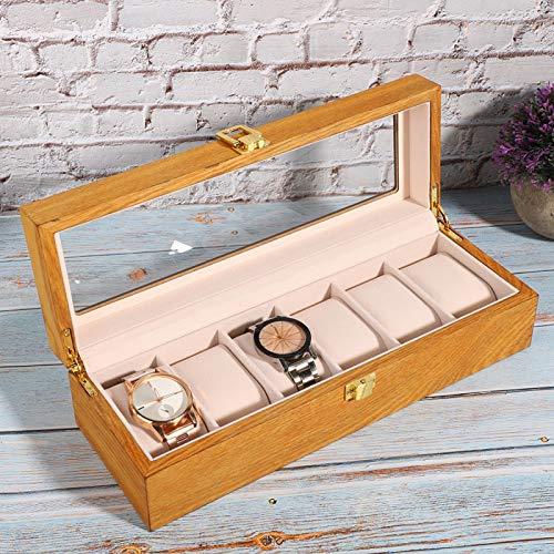 Caja de presentación de Reloj, Caja de Reloj de 6 Ranuras, Organizador de Almacenamiento de Joyas Caja de Reloj para Hombres para Hombres y Mujeres Almacenamiento y exhibición de Accesorios