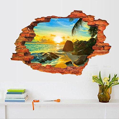 Madaye 3D Landschaft Stereo Wandaufkleber Persönlichkeit Creative Windows landschaftlich Wand