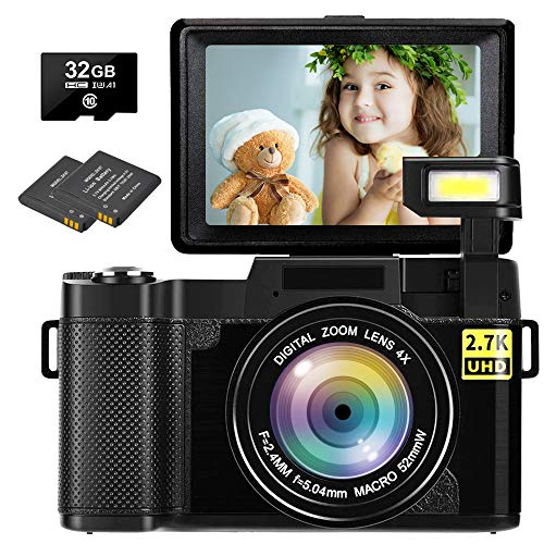 Digital Camera Vlogging Camera 30MP Full HD 2.7K Vlog Camera with Flip Screen 3 Inch Screen Vlog Camera for YouTube with 2 Batteries