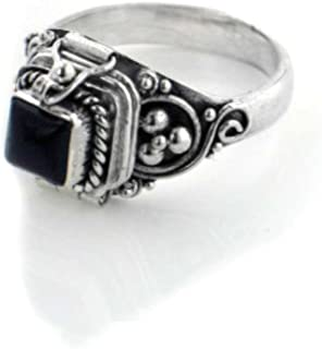 Small Square Sterling Silver Black Onyx Poison Box Locket Ring(Sizes 4,5,6,7,8,9,10,11)
